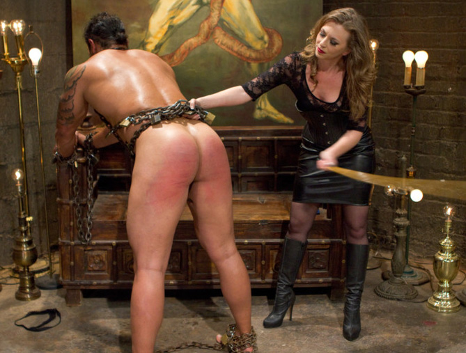 Mistress T gives slave a dose of CBT & CFNM